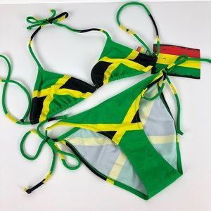 a5caeb4464 New Jamaica Flag String Bikini Set Sexy Swim Suit